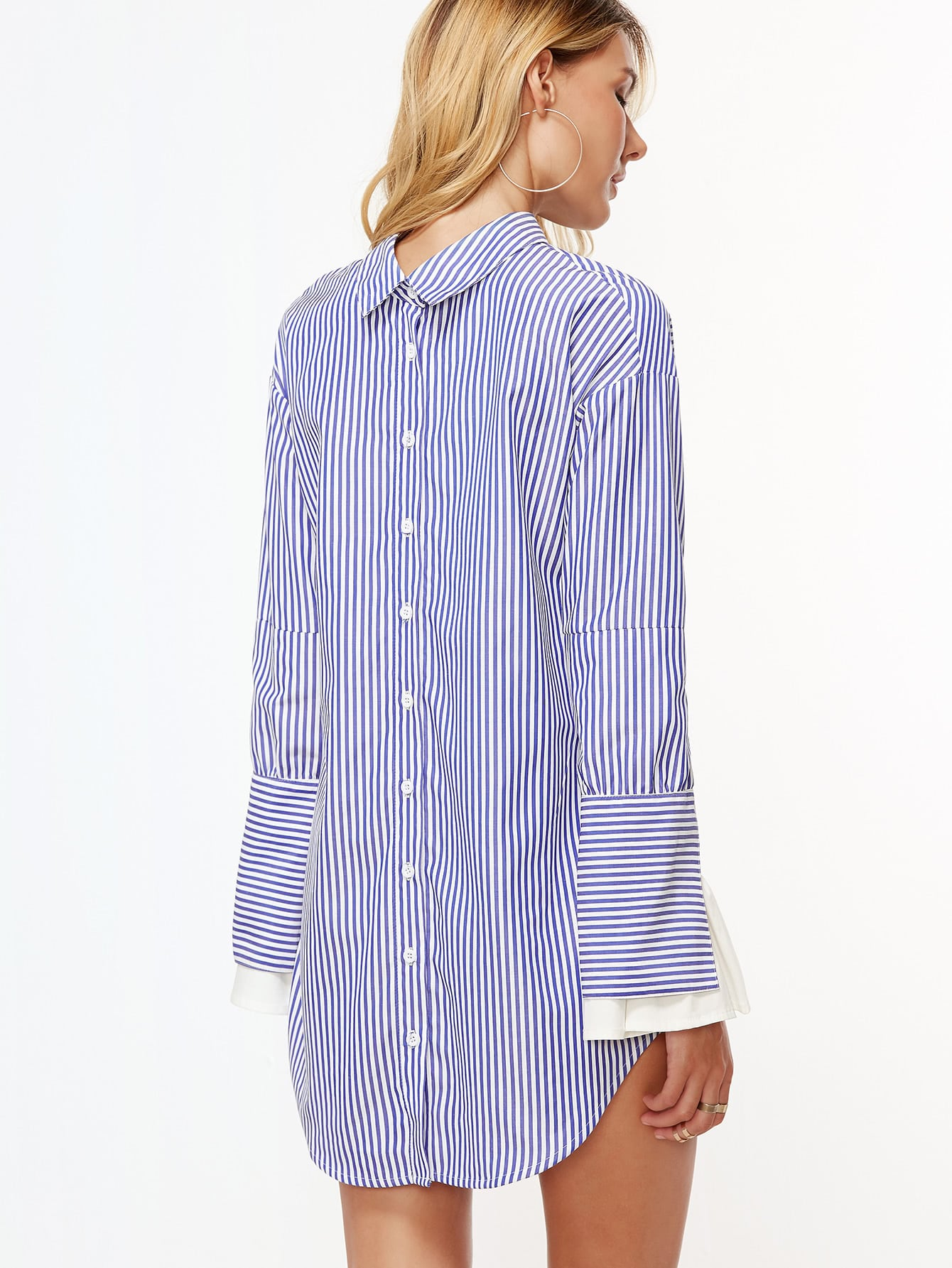 Blue and white vertical striped contrast ruffle cuff shirt for Vertical striped dress shirt