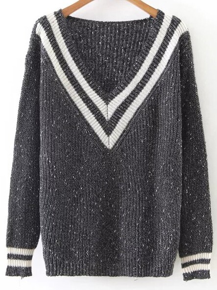 Striped V Neck Ribbed Trim Loose Sweater sweater161011206