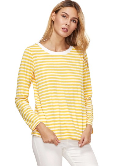 Yellow striped long sleeve t shirt shein sheinside for Yellow long sleeved t shirt