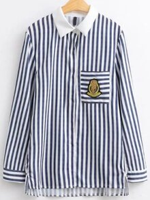 Blue Vertical Striped Patch High Low Blouse