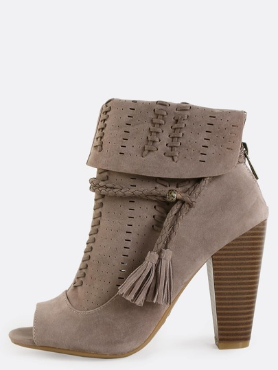 Suede Boho Inspired Ankle Boots TAUPE