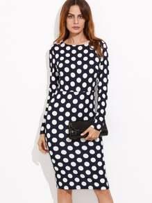 Navy Polka Dot Print Pencil Dress