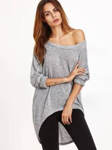 Grey One Shoulder Dip Hem T-shirt