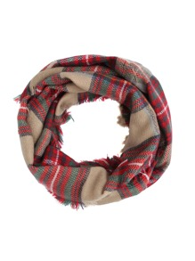 Khaki And Red Plaid Eyelash Fringe Shawl Scarf