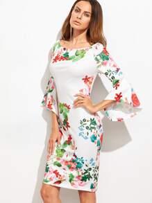 White Floral Print Bell Sleeve Sheath Dress