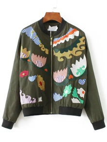 Army Green Graphic Embroidery Bomber Jacket