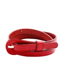 Red Simple Skinny Belt