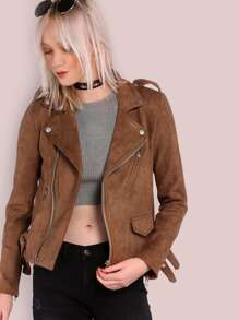 Faux Suede Biker Jacket BROWN