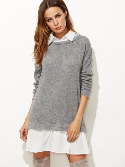 Robe sweat-shirt 2 sur 1 col contrasté - gris