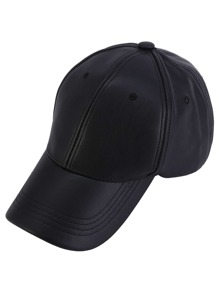 Black Faux Leather Hip Hop Baseball Cap