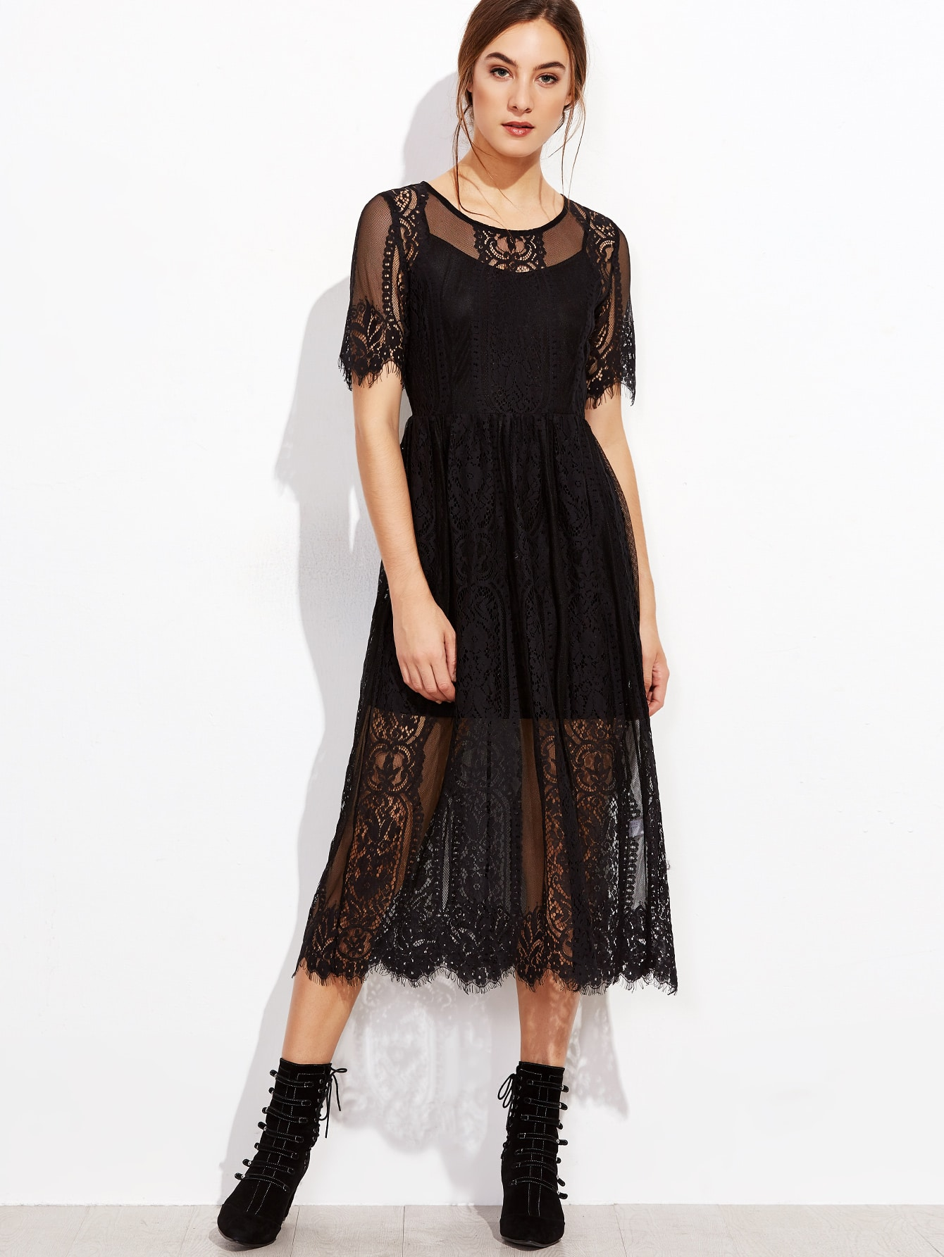 Black Zipper Back Lace Dress With Cami Top twopiece161013701