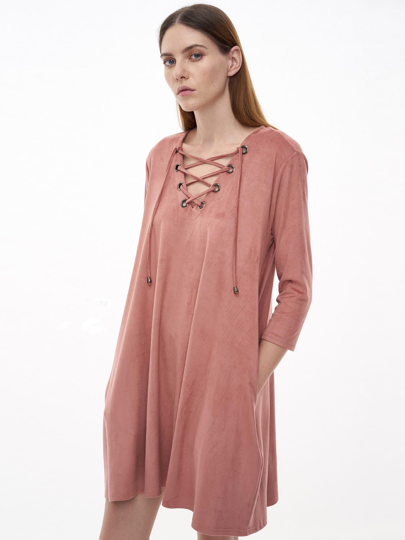 Фото Pink Eyelet Lace Up Suede Shift Dress. Купить с доставкой