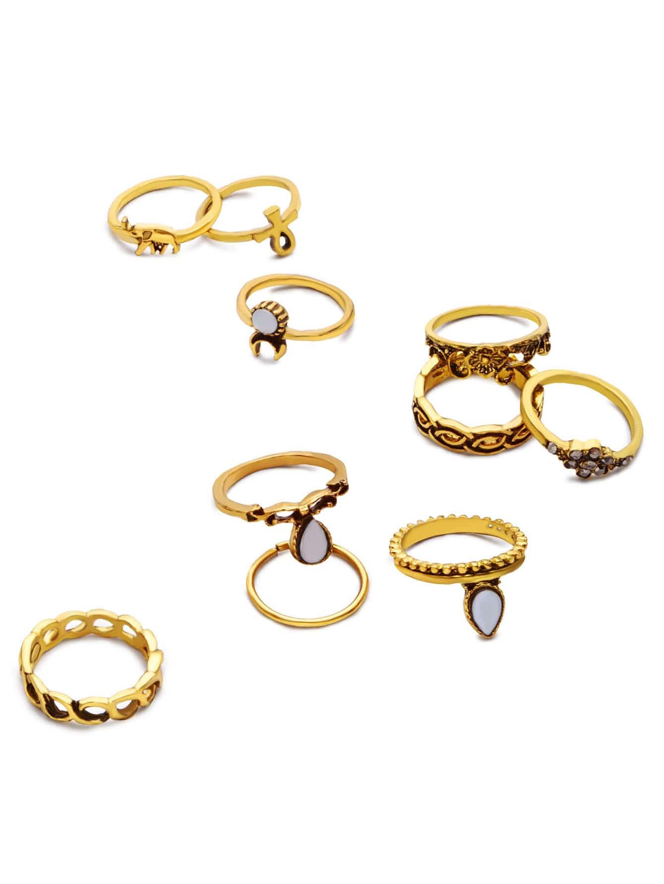 Image of 10PCS Antique Gold Geometric Carved Ring Set