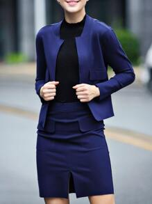 Blue Long Sleeve Top With Split Skirt