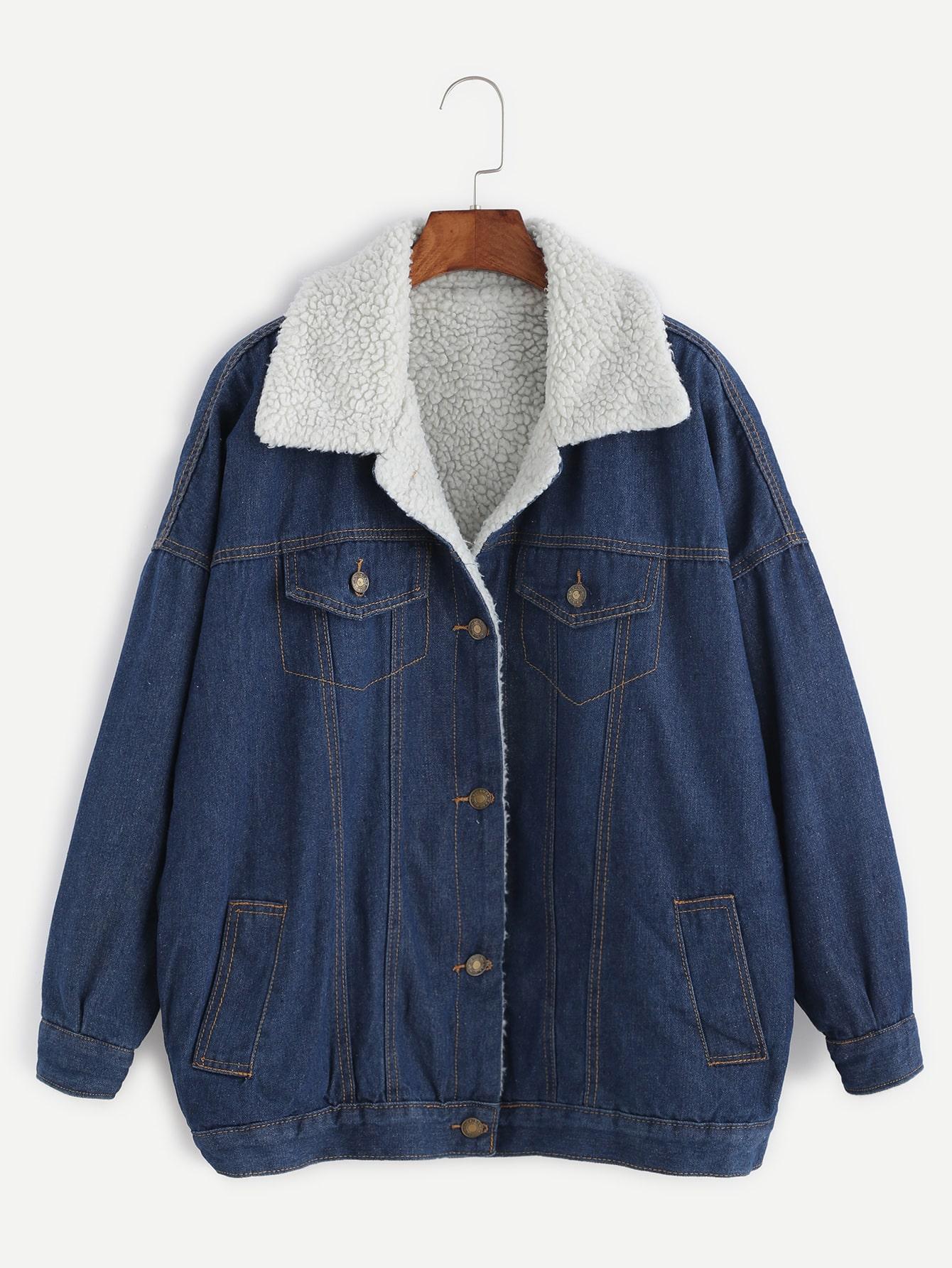 Blue Drop Shoulder Sherpa Lined Denim Jacket letter print drop shoulder denim jacket