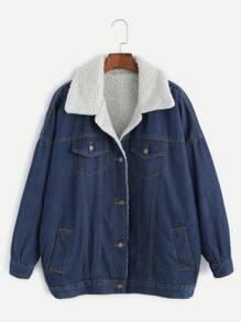 Blue Drop Shoulder Sherpa Lined Denim Jacket
