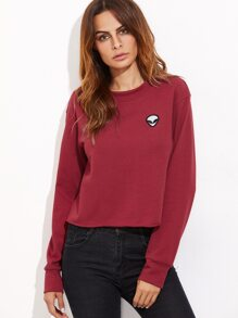 Burgundy Raw Hem Sweatshirt With Embroidered Alien Patch