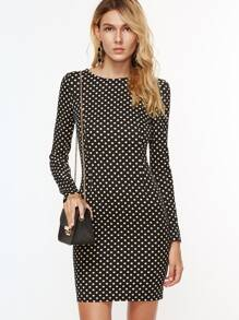 Black And White Polka Dot Print Long Sleeve Bodycon Dress
