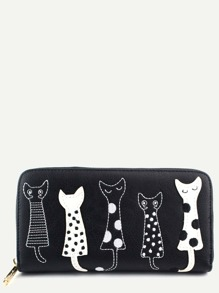 Casual Black PU Little Cat Wallet