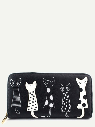 Casual Black PU Little Cat Wallet