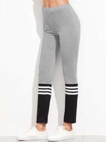 Contrast Striped Trim Leggings