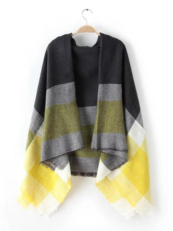 Neon Yellow Tone Raw Edge Shawl Scarf scarf161018208