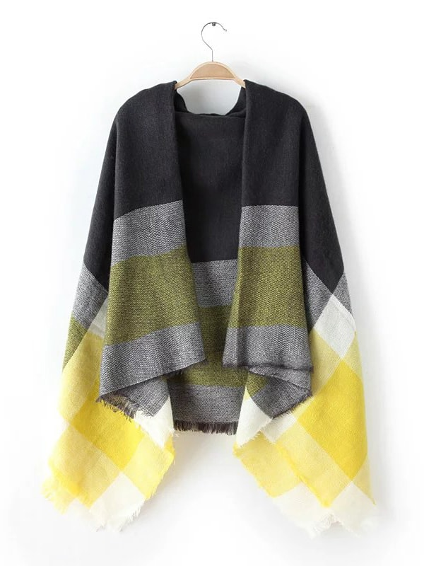 Neon Yellow Tone Raw Edge Shawl Scarf scarf161018208