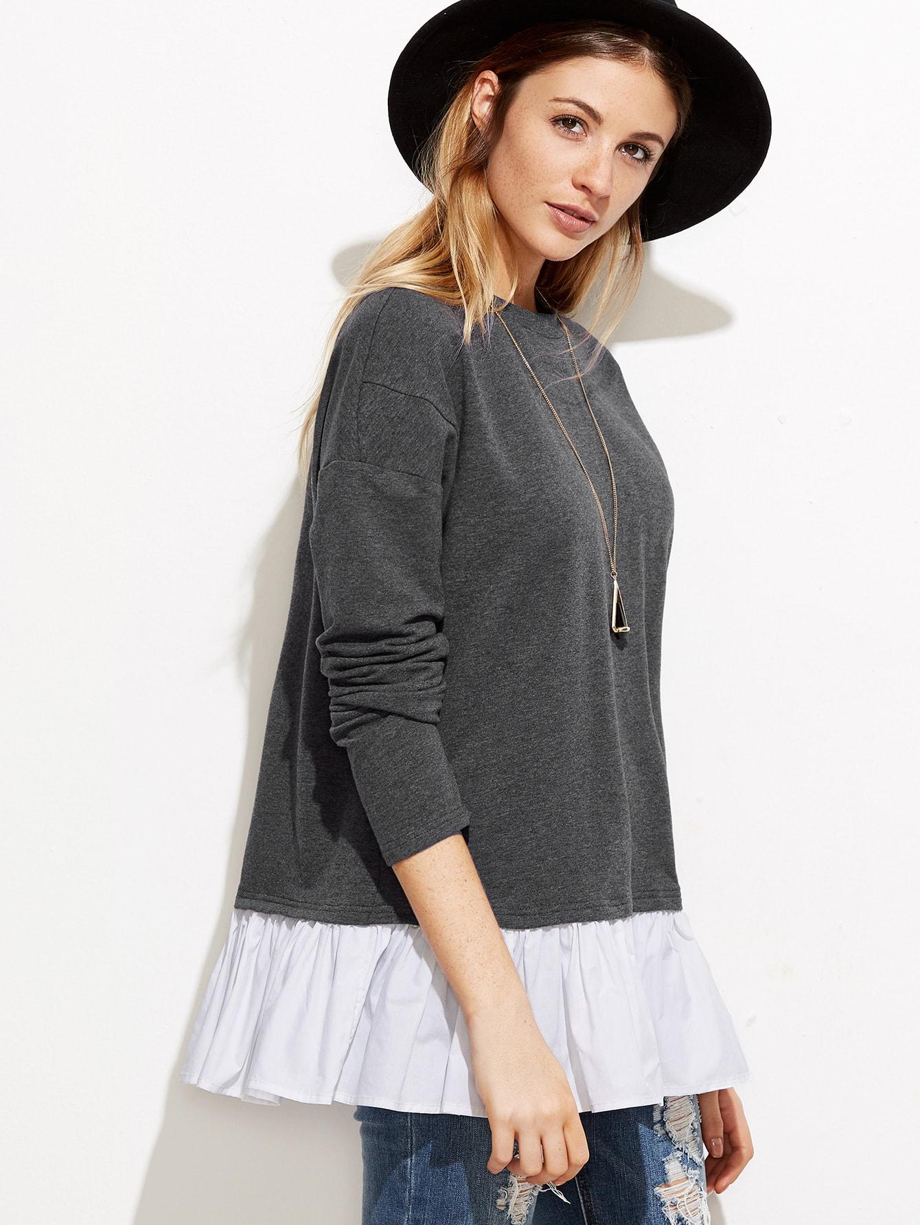 Grey Drop Shoulder Contrast Ruffle Trim SweatshirtGrey Drop Shoulder Contrast Ruffle Trim Sweatshirt<br><br>color: Grey<br>size: L,S,XS