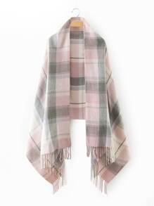 Light Pink Plaid Fringe Edge Scarf