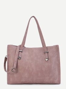 Pink PU Tote Bag With Strap