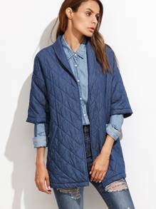 Blue Elbow Sleeve Quilted Coat