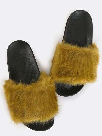 Faux Fur Contrast Slide Sandals OLIVE