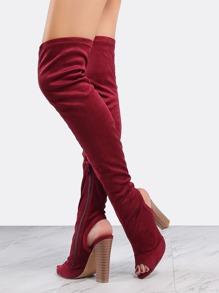 Chunky Heel Peep Toe Boots WINE