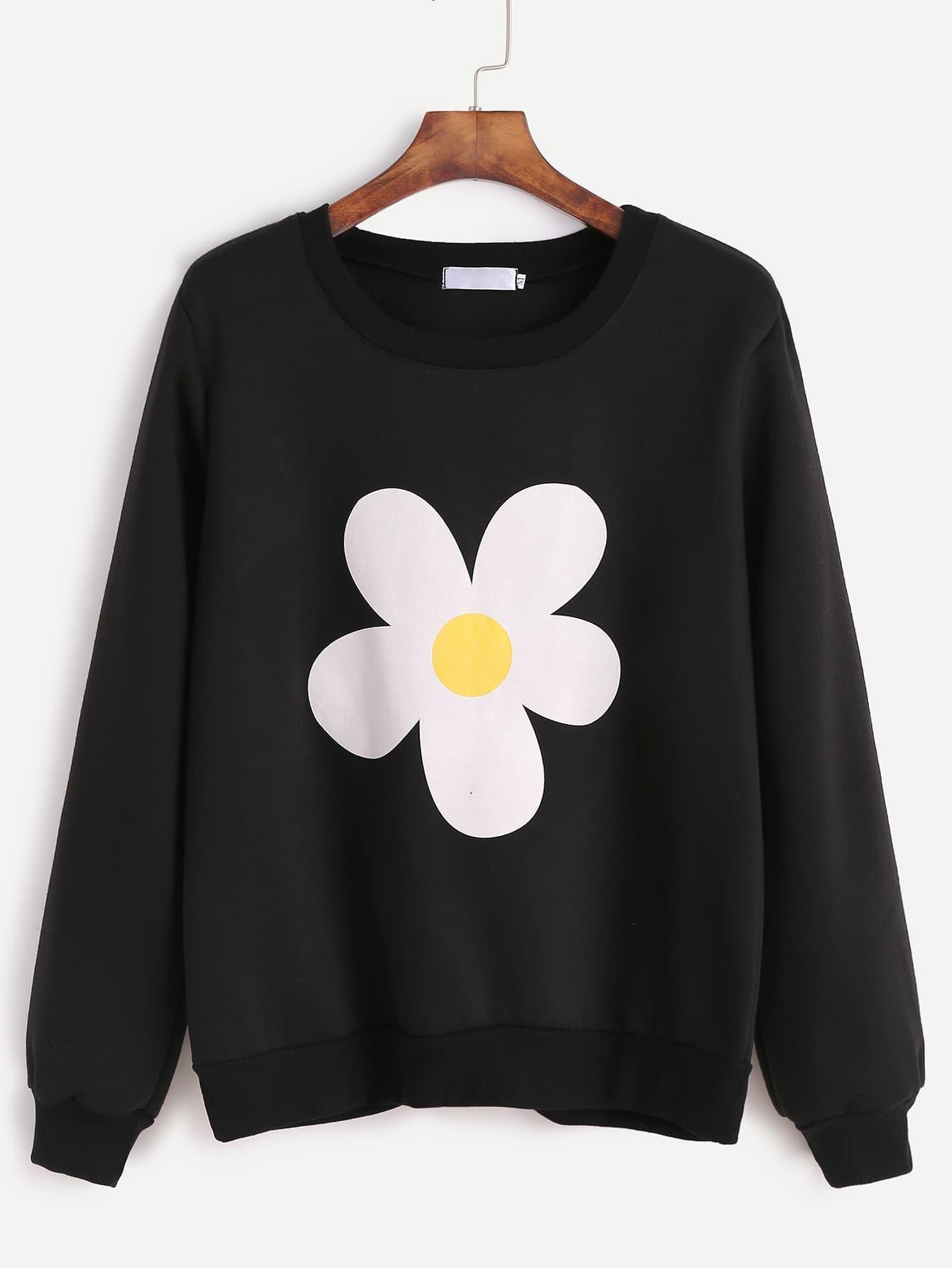 Black Flower Print Sweatshirt sweatshirt161025104