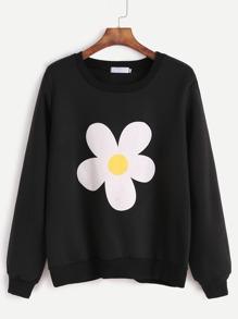 Black Flower Print Sweatshirt