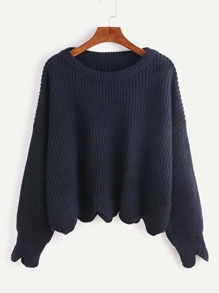 Pull ourlet forme en coquille - bleu marine