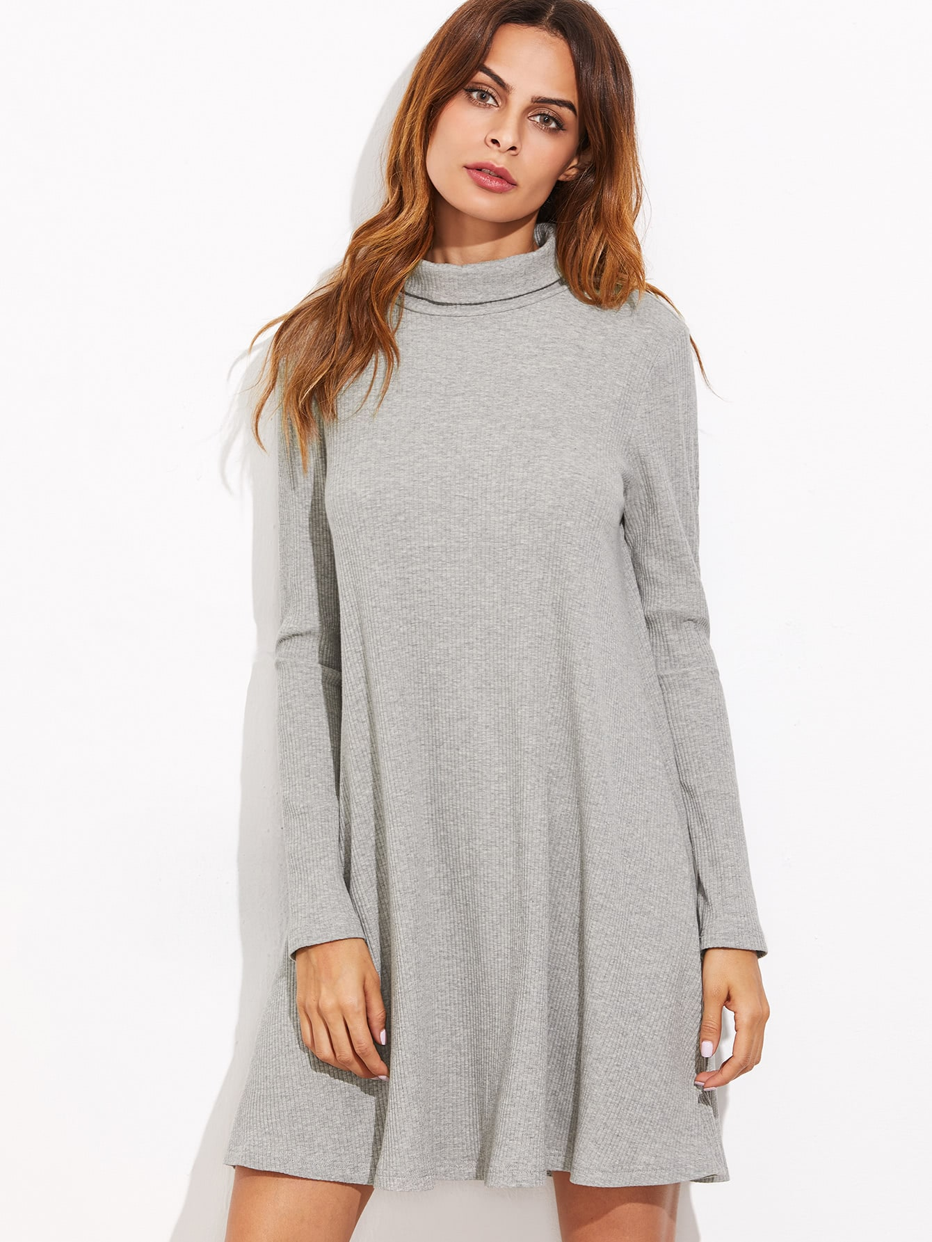 Heather Grey High Neck Ribbed Swing Dress dress161018704