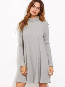 Heather Grey High Neck Ribbed Swing Dress