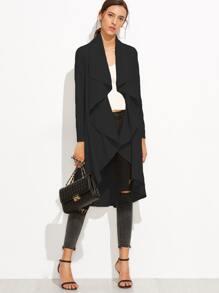 Black Drape Front Dip Hem Coat