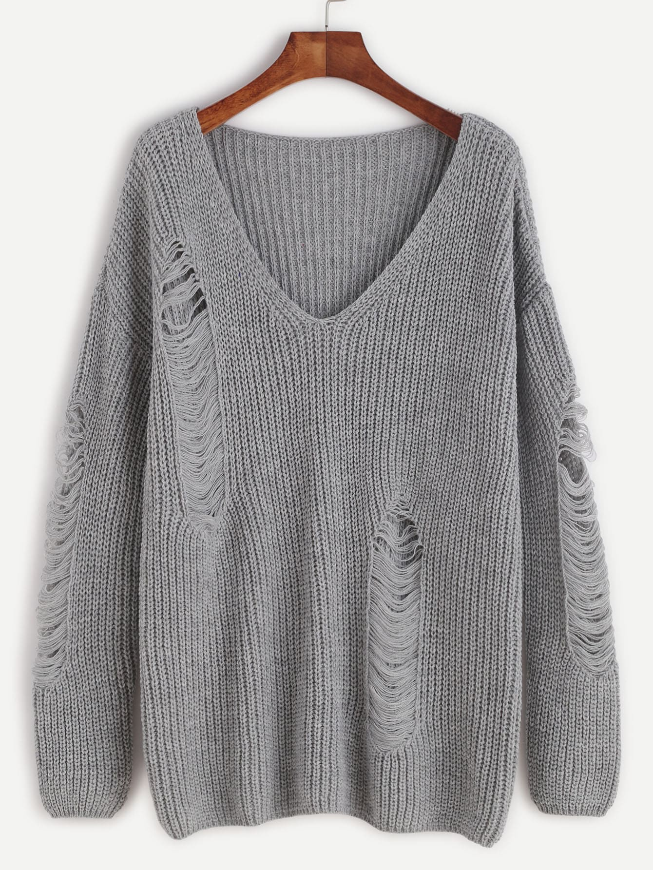 Grey V Neck Drop Shoulder Ripped Sweater sweater161020458