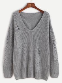 Jersey con escote V y roturas - gris