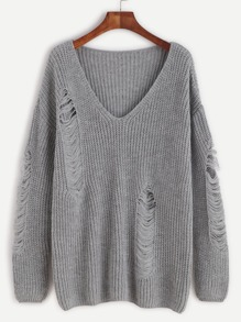 Mantel mit zerrissen Design Drop Schulter V-Ausschnitt-grau