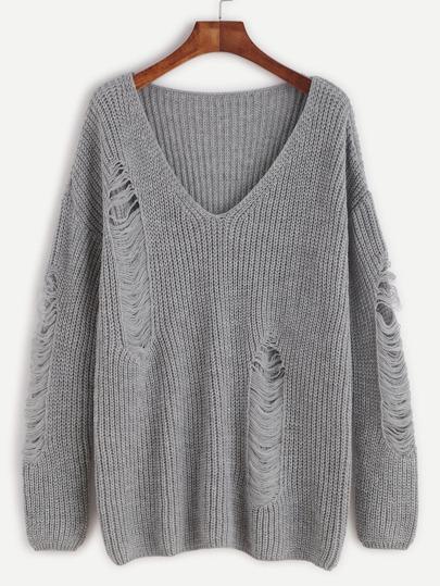 Grey V Neck Drop Shoulder Ripped Sweater