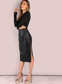 Cut Out Midriff Faux Leather Contrast Midi Dress BLACK