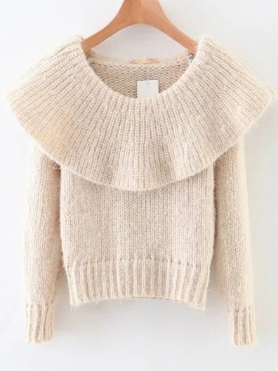 White Ribbed Boat Neck Sweater sweater161026213