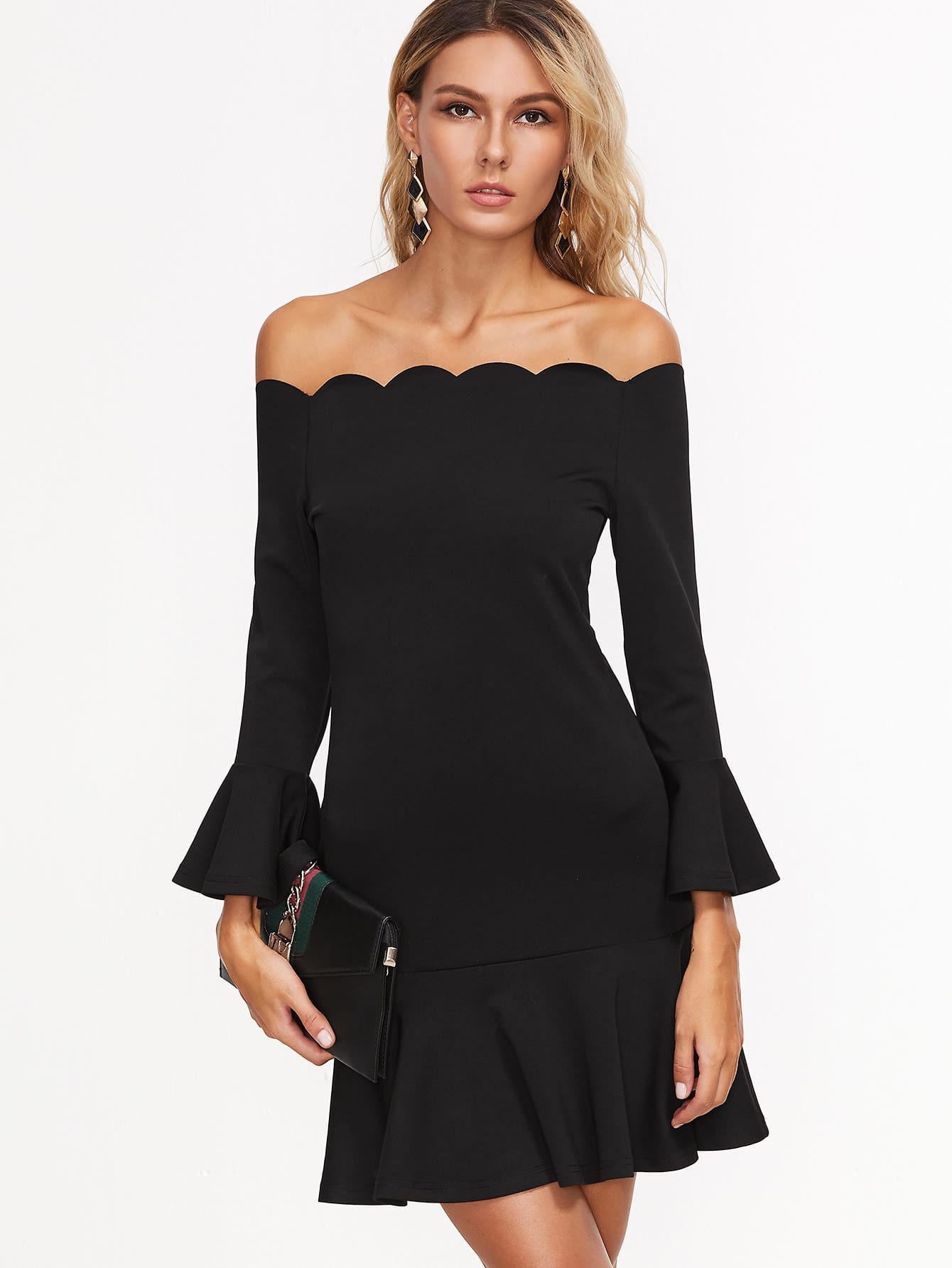 Scallop Off Shoulder Frill Dress pearl detail frill off shoulder dress