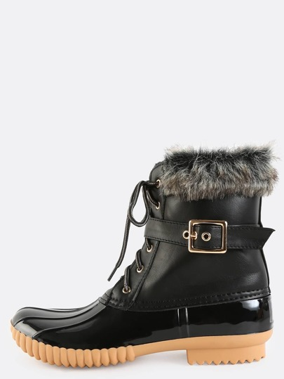 Faux Fur Trim Duck Boots BLACK