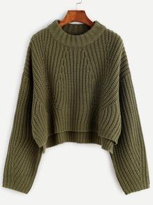 Olive Green Drop Shoulder Slit Crop Sweater