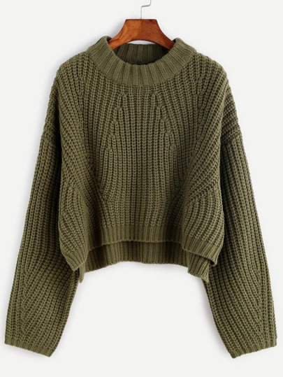 Pull col rond manche longue - vert olive