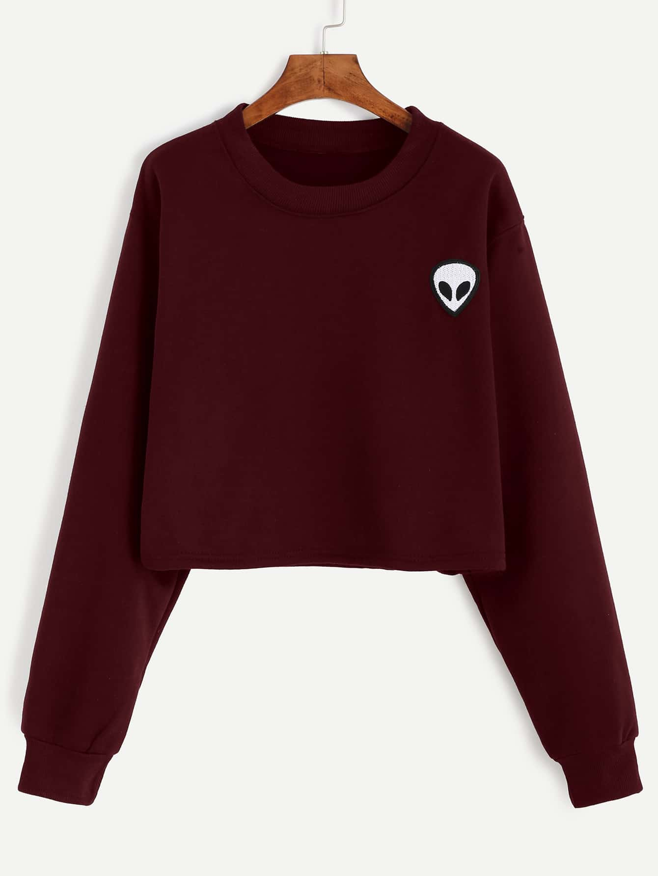 все цены на Alien Embroidered Patch Crop Sweatshirt